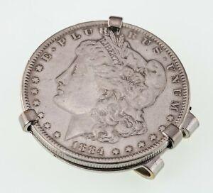 """1884 Morgan Dollar """"Swank"""" Money Clip Gorgeous Collectible!"""