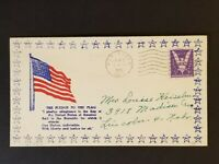 1943 New Haven Indiana Lincoln Nebraska WWII Flag Illustrated Patriotic Cover