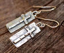 Artisan Sterling Silver Long Cross Earrings, on Handmade Earring Wires