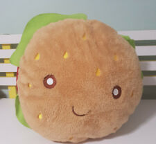 BIG HAMBURGER TOY WITH SMILEY FACE BATCH CODE 06/16 SOFT TOY PLUSH 40CM WIDE!