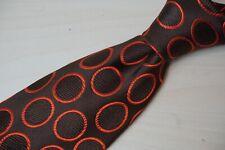 Sulka Chocolate Brown Tangerine Big Circle VINTAGE ALL SILK Tie