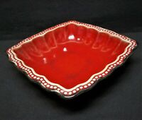 """Roscher Hobnail Collection Red Square Scalloped 7.5 x 7.5"""" Stoneware Soup Bowl"""