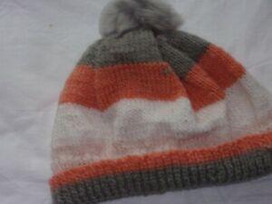 Ladies Hand Knit Striped Beanie with Faux Fur Pom Pom - Peach Grey Cream Stripes