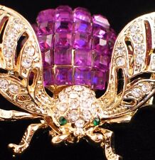 GOLD PURPLE GREEN CLEAR RHINESTONE BUG INSECT FLYING BUMBLE BEE PIN BROOCH 1 1/4