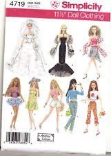 Simplicity Pattern #4719 BARBIE Wardrobe GOWNS Dresses SKIRTS Wedding etc Uncut