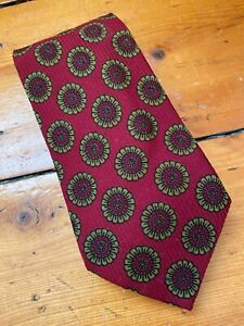 Vintage Austin Reed Neckwear, Made in England 1970s Retro Yellow & Red Daisy Tie