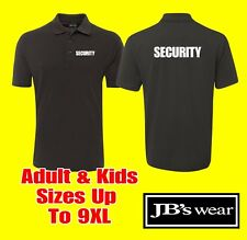 JB's 210 Black Security Polo Shirt with front & Back Design Kids sizes to 9XL