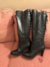 B Makowsky Kindle Black Leather Lace Up Back High Heel Boots 7