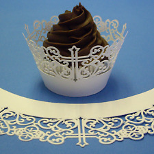 Cross White Cupcake Wrappers - PME - First COMMUNION CONFRMATION 12pce