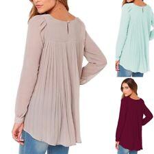 Top+ Womens Long Sleeve Pleated Loose Blouse Tops T-Shirt Crewneck Chiffon Shirt