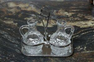 ANTIGUA Aceitera y Vinagrera en Cristal Tallado y Acero Inox 18%.  Set de Aliños