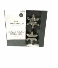 Threshold Snowflake Place Card Holders Metal Silver Set 4 Table Decor New