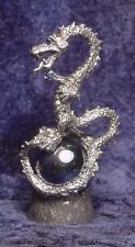 Pewter Dragon coiled on Blue Glass Orb accented with colorful Crystals