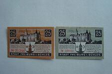 Notgeld Stadt Freiburg / Schlesien 2x 25 Pfennig 1919 Germany (2118)