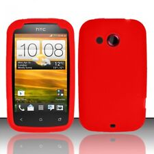 For Cricket HTC Desire C Rubber SILICONE Soft Gel Skin Case Phone Cover Red