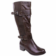 Women Knee High Wide Leg Flat Low Heel Stretch Calf Riding Boots Size
