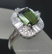 Solid 14K White Gold Natural Green Tourmaline Engagement Diamonds Ring