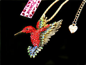 Betsey Johnson Red Crystal Cute 3D Hummingbird Pendant Necklace Sweater Chain