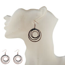Women Vintage Bohemia Irregular Red Copper Hollow Round Carved Charm Earrings