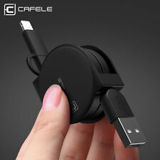 Retractable 1M 2 in 1 Micro USB Sync Data Charger Cable For Android iPhone Mini