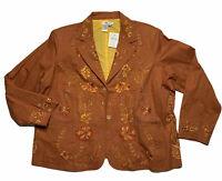 Coldwater Creek Sz 3XL Sz 24-26 Womens Copper Bohemian Embroidered Blazer Jacket