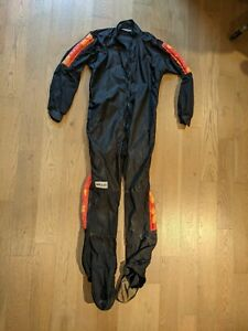Bev Skydiving Jumpsuit -Black with red/yellow grippers and with booties.