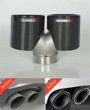 """2.5""""-3.5"""" Carbon Fiber Car Exhaust Tips Muffler Dual Tail Pipe Stainless Steel"""