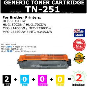 2x TN251 Black only Toner for Brother HL3150CDN HL3170CDW MFC9330CDW MFC9335CDW