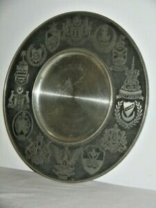 Solid Stainless Steel Plate Coats of Arms of Malaysia All Around Rim 24.5cm Wide