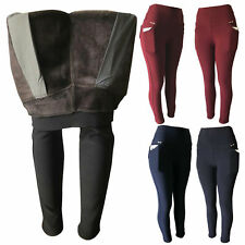 Women Winter Fleece Fur Lined Extra Thick Thermal Pants Leggings With Pockets