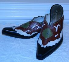 BCBGirls Black/Ivory/Red/Green Leather Western Mules/Slides Sz 6 M