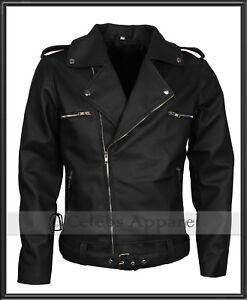 Dean Morgan The Walking Dead Negan Biker Black Genuine Leather Motorcycle Jacket