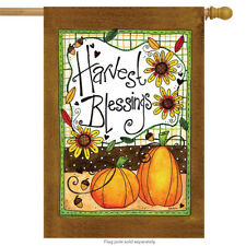 "Harvest Blessings Autumn House Flag Pumpkins Primitive 28"" x 40"" Rain or Shine"