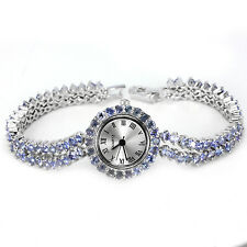 Sterling Silver 925 Genuine Natural Blue Violet Tanzanite Two Row Watch 71/2 In