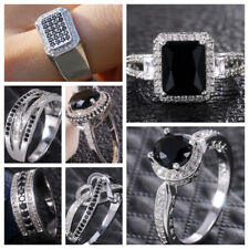 Fashion Women Black Sapphire 925 Silver Rings Jewelry Wedding Ring Size 6-10
