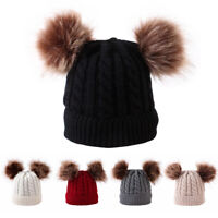 Baby Warm Hat Unisex Hat Winter Hat For Knitted Beanies Double Hairball Toddler!