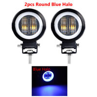 2x 20W 3in LED Work Light DRL Blue Angel Eyes Halo Ring SUV Offroad ATV UTE 4WD