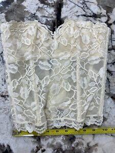 Le Foglie Designer Italy Lace Bra Bustier Corset Womens Size 2 Vintage New beige