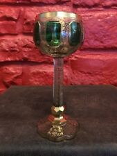 ANTIQUE 19thC BOHEMIAN MOSER GREEN CABOCHON GOLD GILT GOBLET WINE CORDIAL GLASS