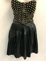 MISSGUIDED Studded Faux Leather Bandeau Dress in Black UK8 US4 EU36 (ee10)