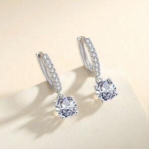 Creolen mit Anhänger echt Sterling Silber 925 Zirkonia Damen Ohrringe