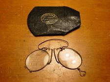 INTERESTING FOLDING PINZ-NEZ SPECTACLES AND LEATHER CASE ORIGIN LIVERPOOL