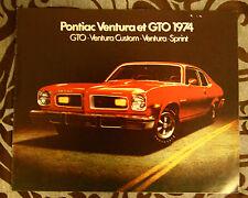 PONTIAC GTO 1974 brochure catalog - French - Canadian Market