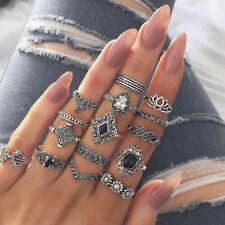 15pcs Ring Circle Finger Hoop Hollow Lotus Sunflower Geometry For Women Lady AU