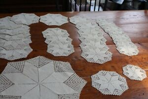 Vintage 28 PC Hand Crocheted Doily Set Beige Perfect!