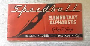 Vintage Speedball Pens Elementary Alphabets Lettering Guide Drafting Calligraphy