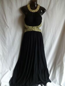FOREVER UNIQUE Black Beaded Abba Evening Dress UK10