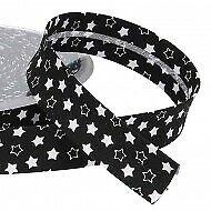 1 m graues Schrägband mit weißen Sternen  18 mm   Einfassband Borte