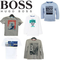 HUGO BOSS Boys Kids Real Genuine Top T-Shirt Short Full Sleeve Crew Neck Clothes