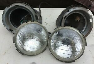 PAIR Of Head Lamp Buckets & Trim Rings 1968-81 Fiat Spider 124 Convertible